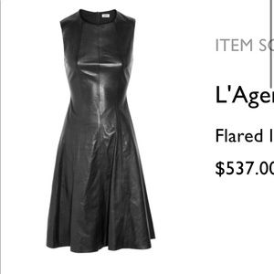 NWT L'Agence black flared leather dress size 4